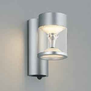 コイズミ照明 LED一体型ポーチ灯 《TWIN LOOKS》 防雨型 モダンタイプ 白熱球60W相当 電球色 マルチタイプ人感センサ付 シルバーメタリック AU45484L