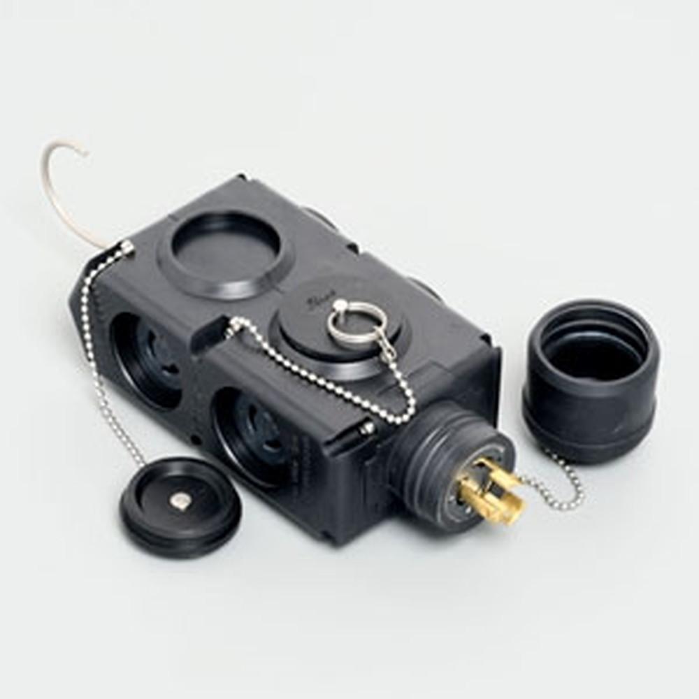 アメリカン電機 移動用分岐ボックス 引掛形・4ヶ口 接地形2P 15A 125V ゴムカバータイプ 吊り下げ用フック付 3113RK