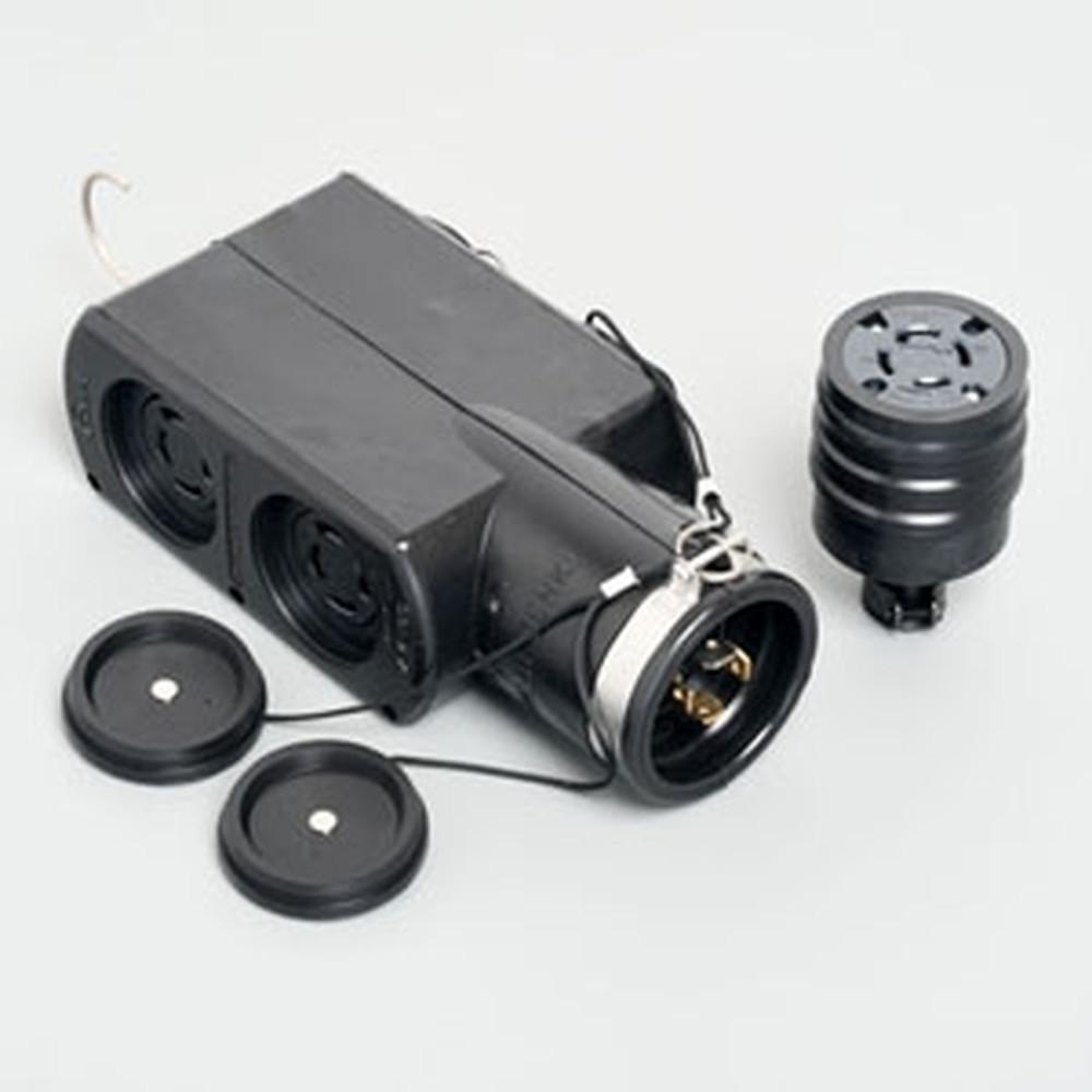 アメリカン電機 移動用分岐ボックス 引掛形・4ヶ口 接地形3P 20A 250V ゴムカバータイプ 圧着端子式 入力用コードコネクタボディ付属 PRZ-4-160