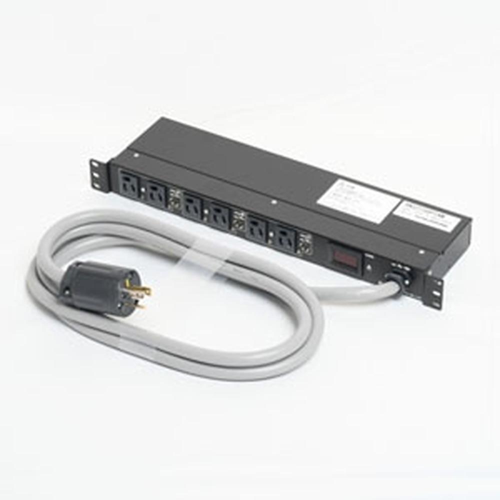 アメリカン電機 1Uコンセントバー 抜止形・6ヶ口 接地形2P 30A 125V 30A(NEMA L5-30)入力プラグ 15Aサーキットプロテクター・デジタル電流計付 HKC2730PTAM