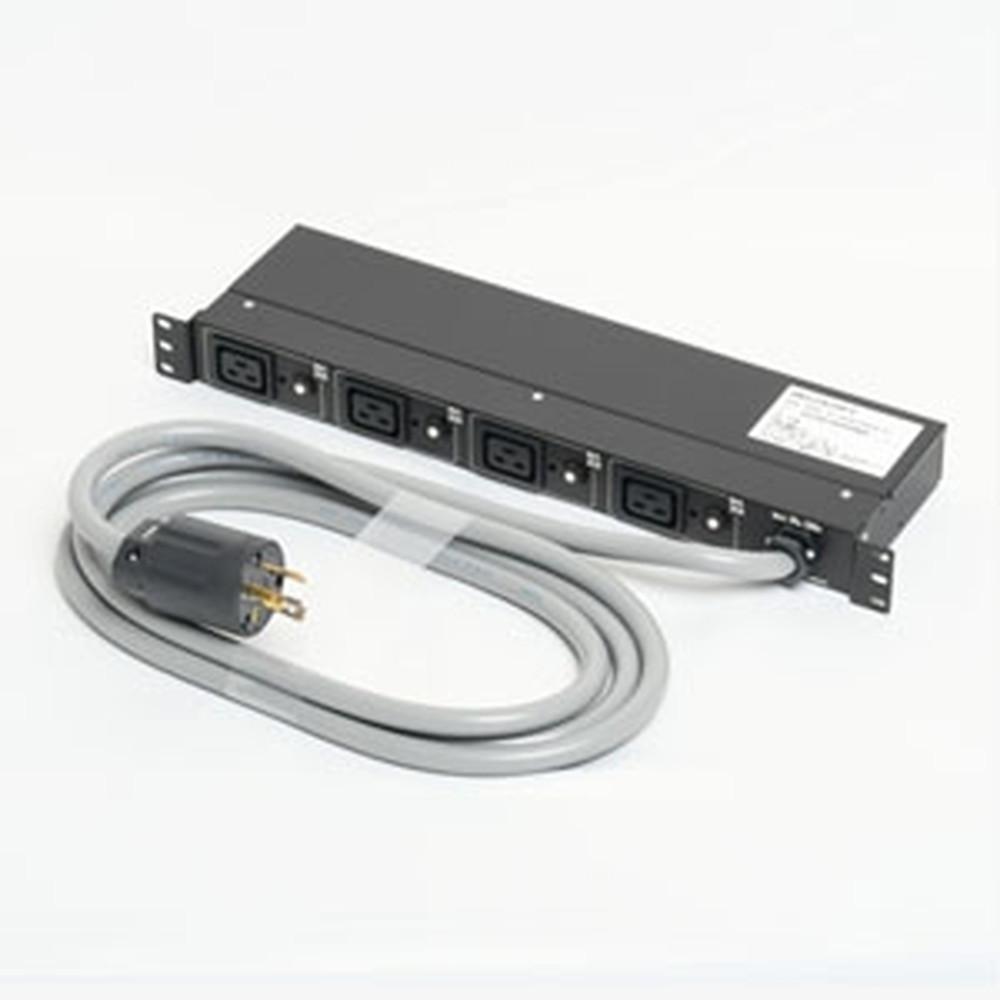 アメリカン電機 1Uコンセントバー IEC C-19・4ヶ口 接地形2P 30A 250V 30A(NEMA L6-30)入力プラグ/20A出力コンセント 20Aサーキットプロテクター付 HKC2920PT