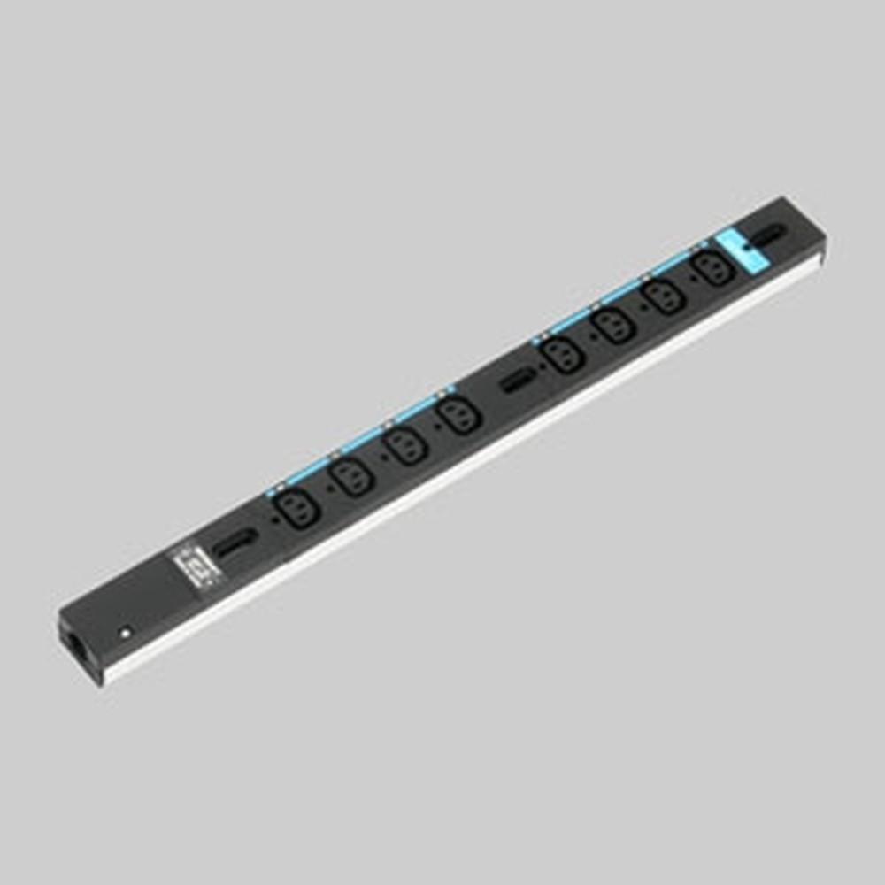 アメリカン電機 0Uコンセントバー スリムタイプ IEC C-13・8ヶ口 接地形2P 20A 250V 圧着端子式 15A安全ブレーカ2ヶ付 HA9080S