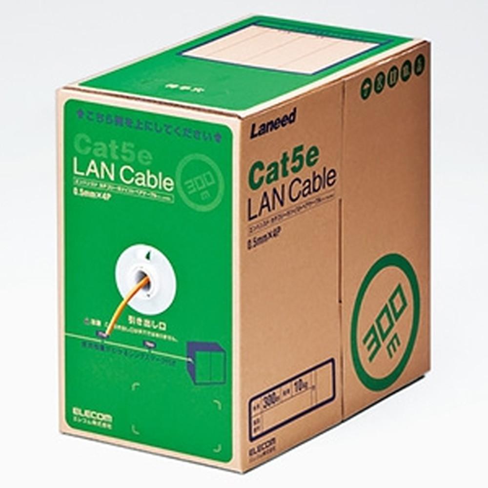 ELECOM LANケーブル ケーブルのみ CAT5E対応 レングスマーク付 環境配慮パッケージ 長さ300m オレンジ LD-CT2/DR300/RS