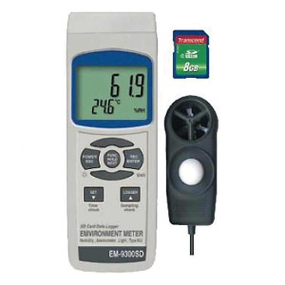 マザーツール マルチ環境測定器 SDスロット搭載 データロガ機能付 照度・風速・温度・湿度測定 EM-9300SD