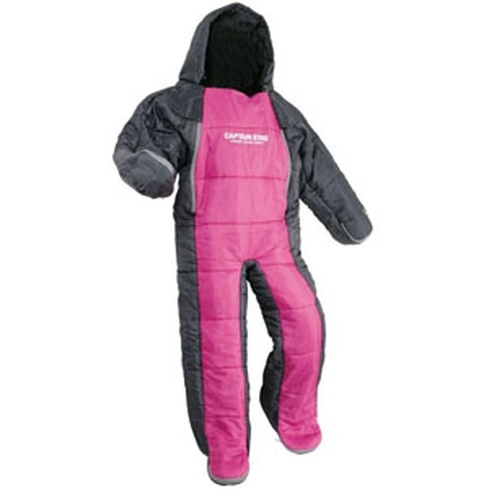 パール金属 洗える人型シュラフ140ジュニア 着るタイプ 寝袋 約58×140cm 収納バック付 ピンク×グレー 《CAPTAIN STAG》 UB-13