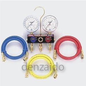 タスコ R404A/R134aボールバルブ式ゲージマニホールドキット 80φゲージ サイトグラス付 150cm 冷暖兼用 TA124EKH-2
