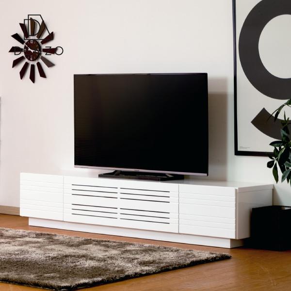 【(5/1限定!)エントリーでP20倍!】 テレビボード TVボード テレビ台 リビングボード 幅180 大型TV MDF エナメル塗装 光沢 収納 AV機器 引出し シンプル モダン 送料無料 CRIO TV BOARD 180 (MF-WH) - ISSEIKI 101-01736[キャッシュレス還元]
