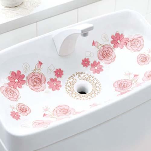 トイレ タンク かわいい シール 清潔 水垢対策 華やぐトイレの手洗いタンクフィルム クラシカルフラワー×2 ! 【クリックポスト】メール便 送料無料