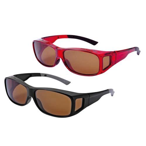 サングラス 眼鏡の上からかけられる 紫外線カット 男女兼用 偏光オーバーグラス ブラック レッド メンズ レディース レジャー 運転 ずれにくい 公式 予約販売品 反射光カット スポーツ UVカット率99.9% 偏光度98%