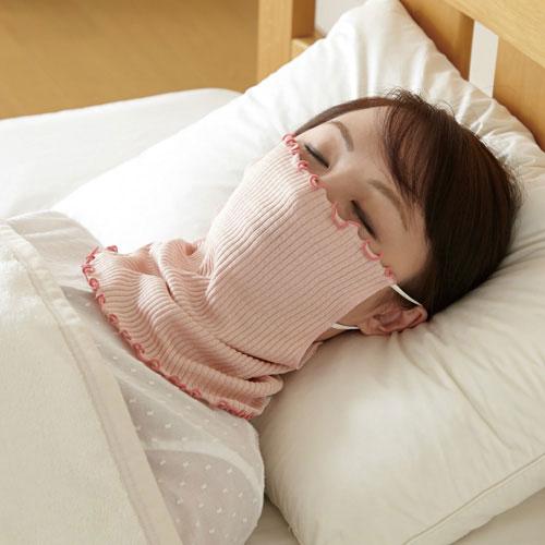 就寝中の乾燥 冷え防止対策に シルク素材のフェイスカバー お中元 シルク98%マスク ☆新作入荷☆新品 ネックカバー 1006853 乾燥防止 マスク 寝る時用 おやすみ中 メール便送料無料 のど 粘膜保護 鼻