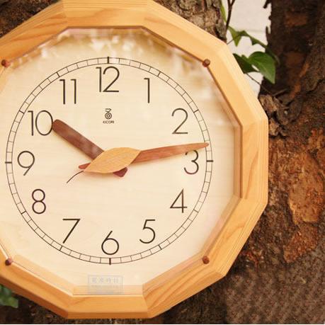 KICORI【森の電葉時計(12角形)】k154【送料無料】 インテリア 寝具 収納 時計 置き時計 掛け時計