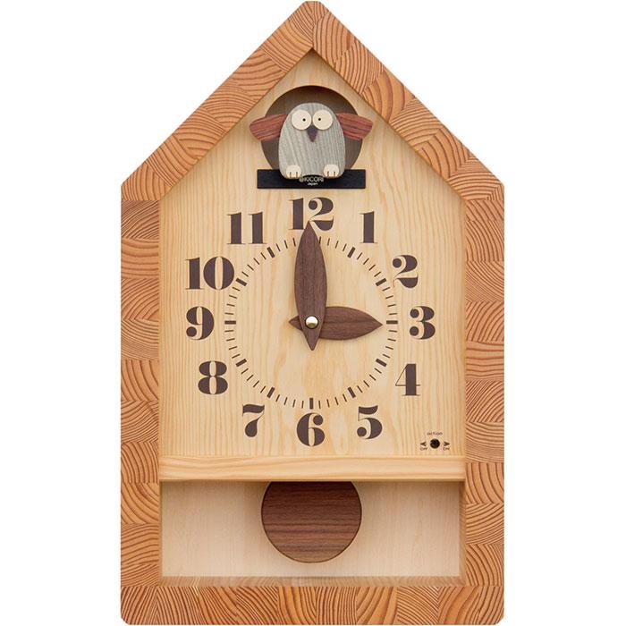 KICORI 森のフクロウ時計 k953 (木製 とけい ウッドクロック 新築祝い 壁掛け時計 置き時計 ギフト インテリア 日本製 国産) 児童館