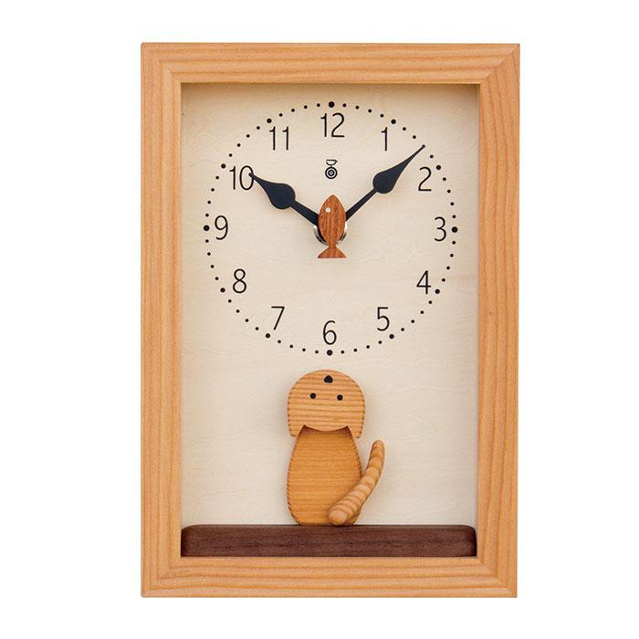 KICORI 仔猫の時計 k156 (木製 とけい ウッドクロック 新築祝い 壁掛け時計 置き時計 ギフト インテリア 日本製 国産) 児童館