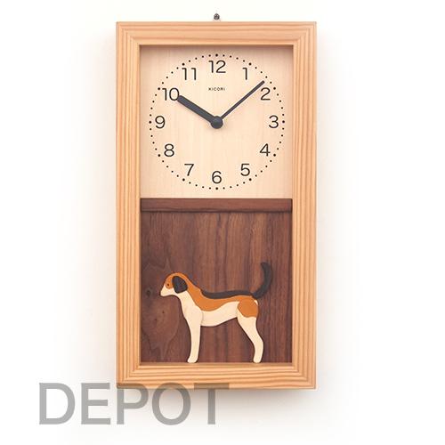 木の時計 KICORI K481【犬の時計(ビーグル)】【送料無料】置き掛け兼用 国産 手作り