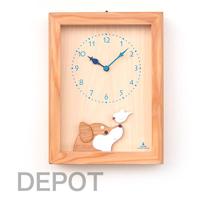文鳥が柴犬に話しかけるように動きます KICORI 柴犬と白文鳥の時計 k480 木製 とけい 販売実績No.1 ウッドクロック 新築祝い 日本製 置き時計 児童館 国産 壁掛け時計 プレゼント ギフト インテリア