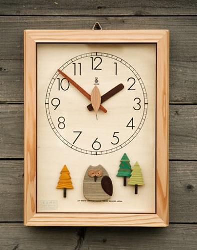 KICORI 木の時計・【森の電葉時計(フクロウ振子)】k155【送料無料】