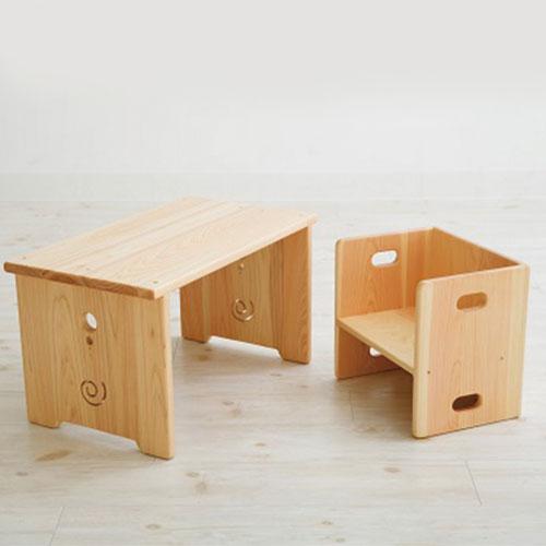 子供 机 イス 完成品 なかよしライブラリー【花テーブルと変化いすセット】(送料無料) 高知 手作り 国産 木製