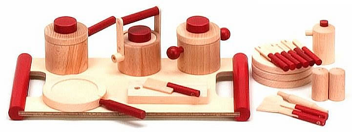 アコテ ままごとセットB(木のおもちゃ 木製 おままごとセット ごっこ遊び 鍋 まな板 包丁 フライパン なべ やかん ケトル 調味料) 児童館