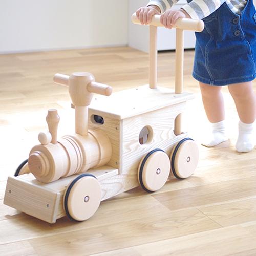 手押し車【汽車ポッポ(大)】KOIDE 国産 木製