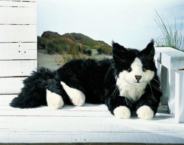 Kosen ケーセン ドイツ製 ぬいぐるみ ねそべり猫(大)黒( ギフト プレゼント 誕生日 出産祝い 女の子 男の子 縫いぐるみ ねこ ネコ) 児童館