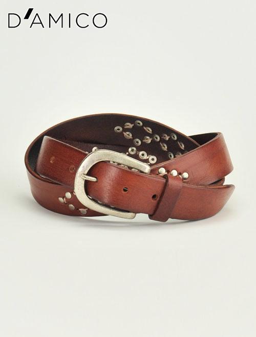 アンドレア ダミコ D'AMICO  [ブラウン]コンチョとステッチでネイティブさを表現。シンプルに飾った3cm幅レザーベルト