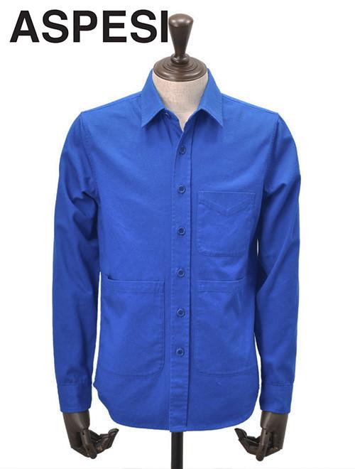 アスペジ  ASPESI 長袖シャツ メンズ カバーオールシャツ コットンギャバジン ブルー デザインポケット UTシャツ 国内正規品 でらでら 公式ブランド