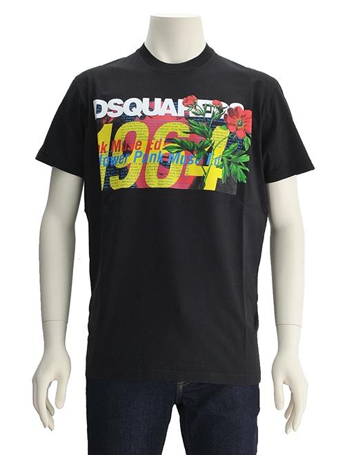 Dsquared2 ディースクエアード 国内正規品 ロゴ&ボタニカルプリント メンズ 半袖Tシャツ ブラック トロピカル レタリング クルーネック