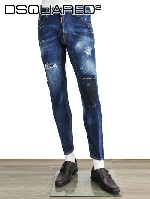 ディースクエアード  DSQUARED2 Tidy Biker Jeans ティディバイカーデニムパンツ ウォッシュブルー ペインター 短丈スリムジーンズ 裏パッチワーク&ダメージ 18/19秋冬
