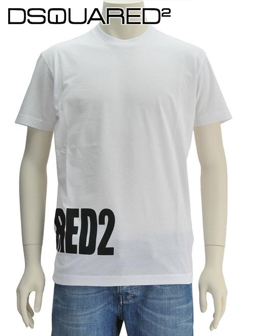 ディースクエアード  DSQUARED2 ホワイト ブランドネームロゴプリント 右裾 半袖Tシャツ クルーネック 18/19秋冬