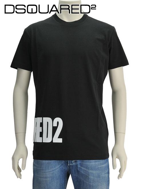 ディースクエアード  DSQUARED2 ブラック 白黒ブランドネームロゴプリント 右裾 半袖Tシャツ クルーネック 18/19秋冬