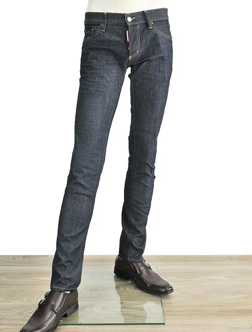 像disukueado Dsquared2 SLIM JEAN纤细吉恩型号再纪德一样的靛蓝彩色天鹅绒背补丁&黄金24-7STAR标识按钮油炸食品牛仔裤牛仔裤