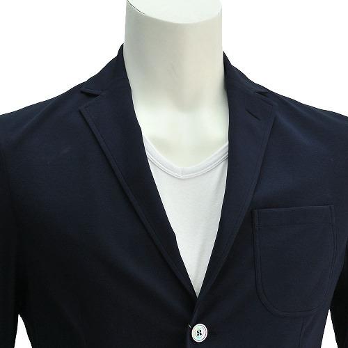 크루치아니 Cruciani 0001-10973네이비 천축 코튼 크로스 1장지 완성 안콘 2버튼 재킷 컷지 맨즈