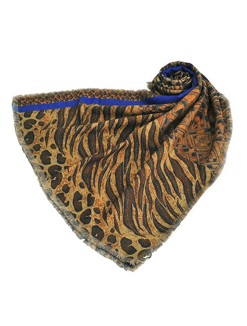 ピエール ルイ マシア  Pierre Louis Mascia ウールニット GRIDOCESTタイプ 65×190 ブラウン基調 豹柄 アニマル レオパード柄と幾何学模様プリント ダブルフェイスのロングストール ユニセックス