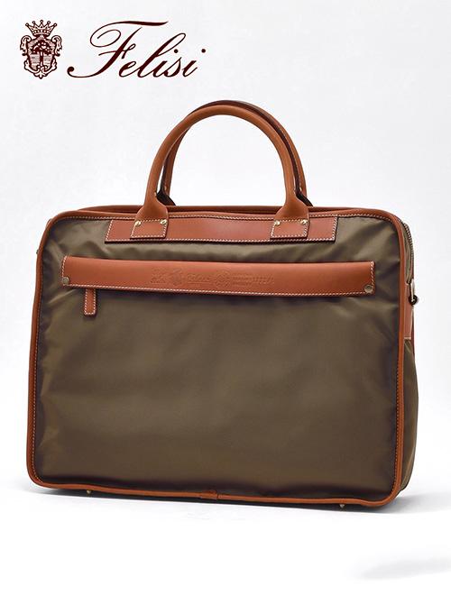 フェリージ  felisi ブリーフケース メンズ 1772/1 DS+A 0153 ベージュ系&ライトブラウン ナイロン&レザー 国内正規品 でらでら 公式ブランド