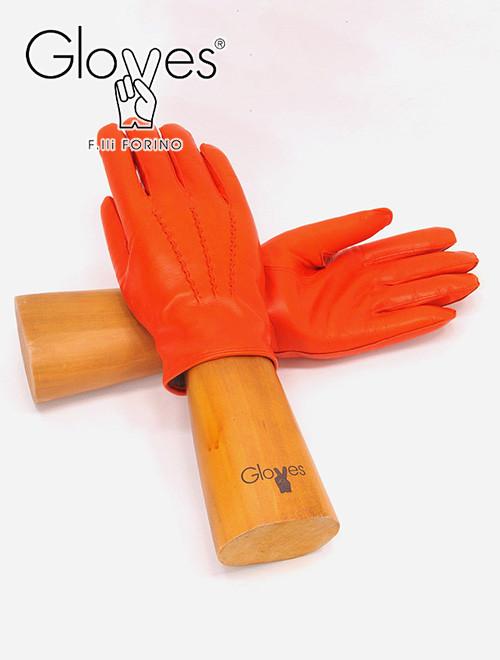 gloves グローブス メンズ 革手袋 オレンジ マンダリン 3本の縫い目 ラムレザーグローブ カシミアウールニット裏 プレゼント ユニセックス