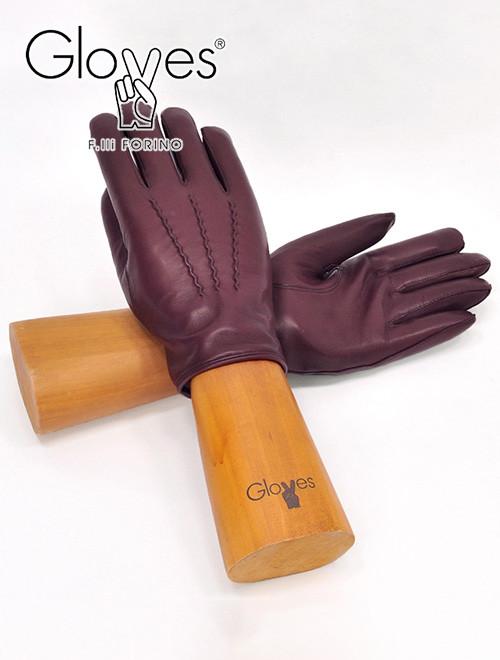 グローブス  gloves ワインレッド 3本の縫い目のイタリア定番デザイン ラムレザーグローブ 裏カシミア混で優しく暖かな手袋 クリスマス ギフト