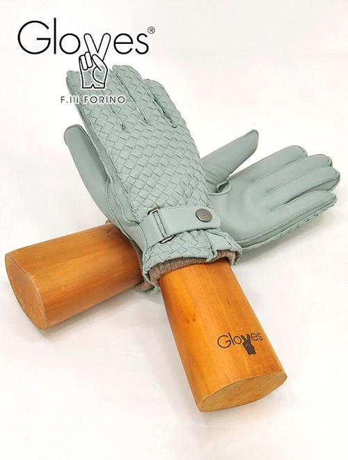 グローブス  gloves 革手袋 メンズ CA741 スカイブルー ラムレザーグローブ イントレチャート 編み込み イタリア製 カシミアニット裏 贈り物 でらでら 公式