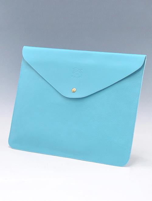 イルビゾンテ メンズ レザークラッチバッグ 封筒 薄型 スリム ターコイズブルー シンプル