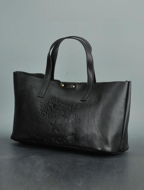 イルビゾンテ  IL BISONTE ブラック 1枚革 イタリアンレザー製トートバッグ スモールサイズ ユニセックス 18春夏新作