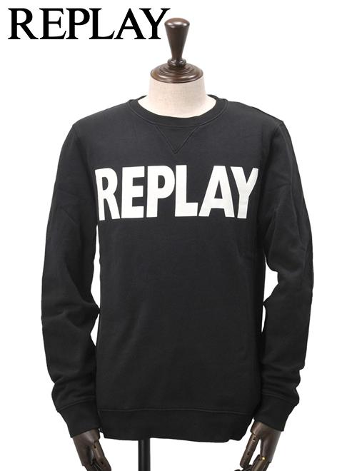 リプレイ  REPLAY 国内正規品 メンズ スウェットシャツ 裏起毛トレーナー 長袖 ブラック クルーネック ロゴプリント モノトーン 秋冬 でらでら 公式ブランド