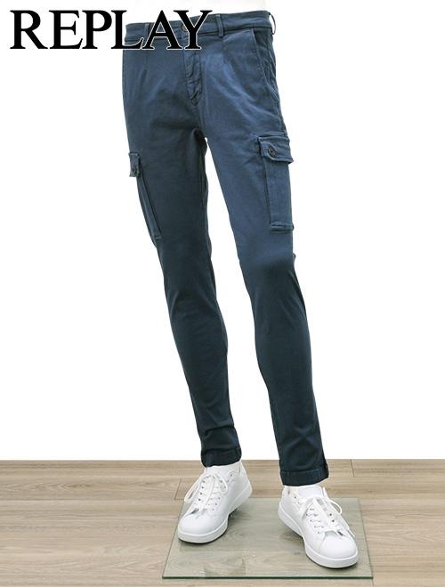 リプレイ  REPLAY 国内正規品 メンズ カーゴパンツ JAAN Hyperflex ハイパーフレックス ネイビー デニムパンツ ストレッチ スリムフィット でらでら 公式 ブランド