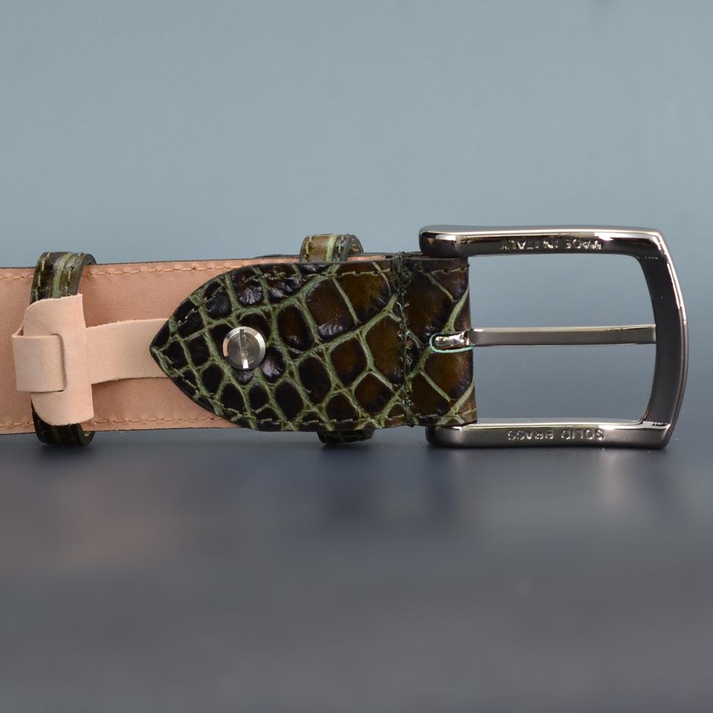 Predibino プレディビーノ グリーントレンドカラーをベルトで クロコ型押し イタリア製 レザーベルト メンズ サイズカット自由wmnNOv80
