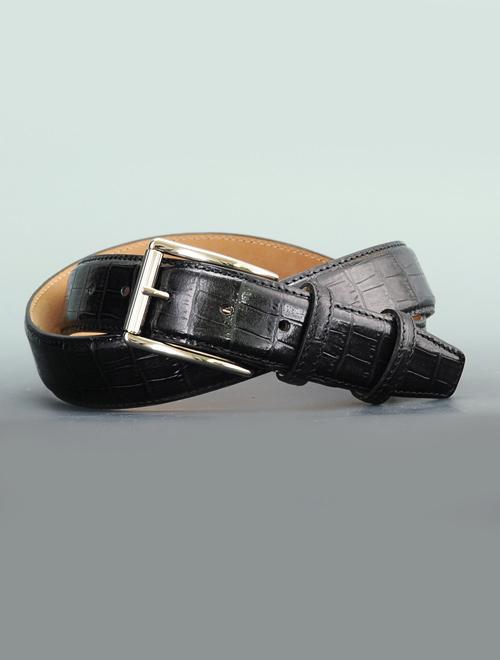 プレディビーノ  predibino ブラック 101101同型 pred1605man-blk モダンな黒革 型押しクロコ くるくるバックル 2017年新作バージョン レザーベルト 35mm幅 メンズ