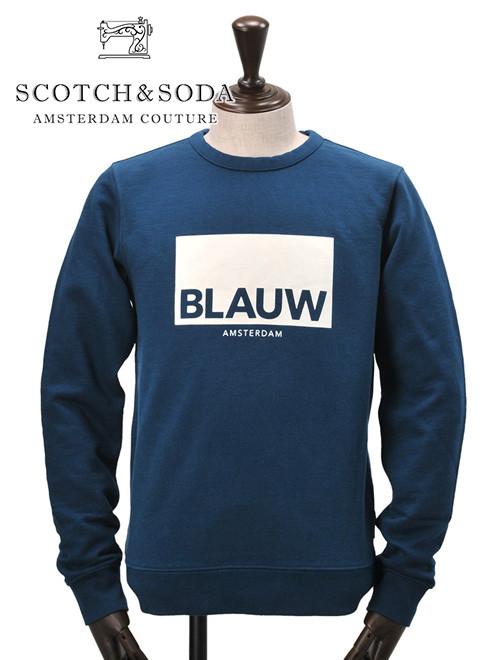 スコッチ&ソーダ  SCOTCH & SODA メンズ スウェットトレーナー 裏起毛 ネイビー BLAUW ロゴプリント ヨーロッパブランド シンプル 国内正規品 でらでら 公式ブランド