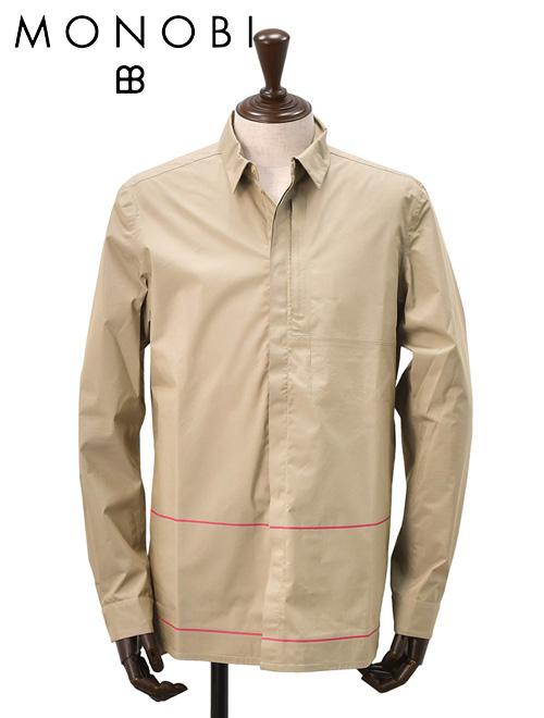 モノビ  MONOBI カーキ オーバーシャツ DEMOB 2.5L スナップボタンの長袖テクニカルコットンポプリン地シャツ 赤色ライン 国内正規品 18春夏