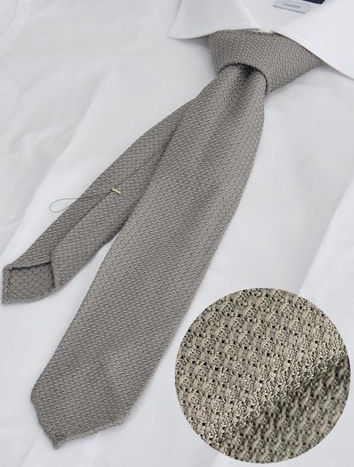 ウルトゥラーレ グレー シルクニット 100% 織り柄シアー 大剣6.5cm 清涼 夏用 メンズアクセサリー
