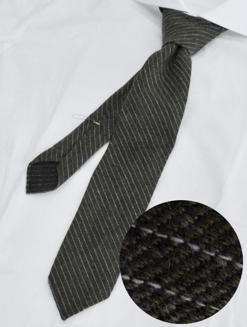 ウルトゥラーレ  ULTURALE カーキグレー カシミア100% メランジ トレピエゲ 3つ折りネクタイ 二枚地フラノ調白ストライプミックス ネクタイ ブランド