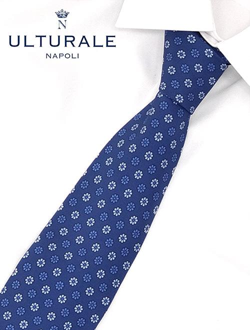 ウルトゥラーレ ブルー セッテピエゲ(七つ折り) フラワードット ヒマワリ風のお花模様シルクネクタイ シルククロス メンズアクセサリー