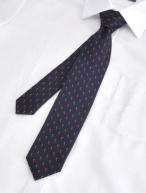 ウルトゥラーレ  ULTURALE メンズ ネクタイ シルク100% 7ピエゲ 7つ折り ネイビー コルノ刺繍 チャーム付きイタリア製アクセサリー 剣先幅7cm