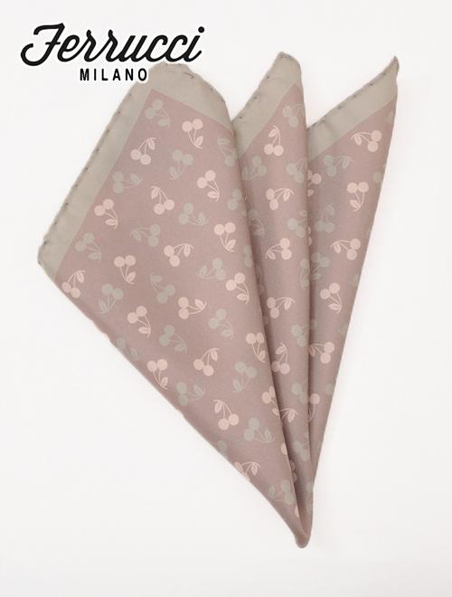 페룻치미라노 FERRUCCI 49-CILIEGIA 품위있음이 있는 체리 디자인 실크 치프 포켓 치프